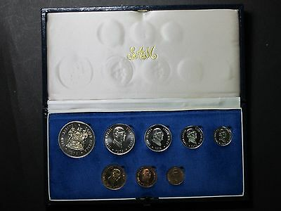 1976 South Africa Proof Coin Set Deluxe Presentation Case Display Silver Coins