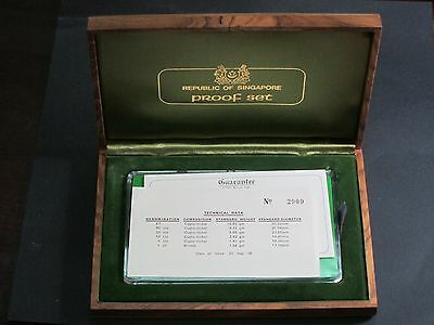 1976 Singapore 6 Proof Coin Set No 2909 Wooden Presentation Deluxe Case Rare!