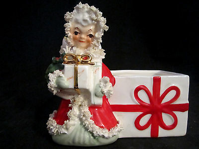 Vintage NAPCO 1950's Japan # S715A Christmas ANGEL PLANTER Spaghetti Gold Trim