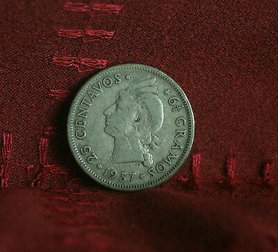 1937 25 Centavos Dominican Republic Silver World Coin KM20 Rare Low Mintage