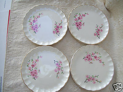 "Lot 4 W S George BOLERO PEACH BLOSSOM  6 1/2""  Bread & Butter Plates."
