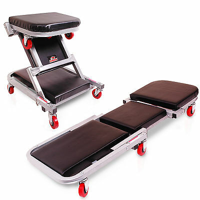 HAWK TOOLS 2in1 CAR VAN 4X4 MECHANIC GARAGE WORKSHOP ROLLING CREEPER STOOL SEAT