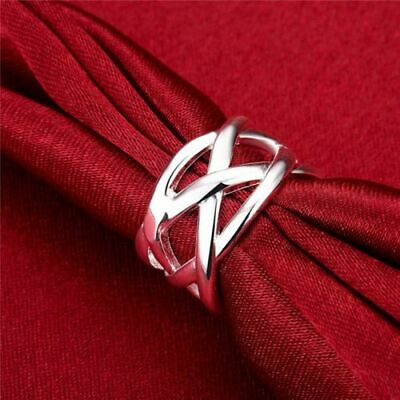 Stunning 925 Sterling Silver Classic Infinity Criss-Cross Geometrical Net Ring