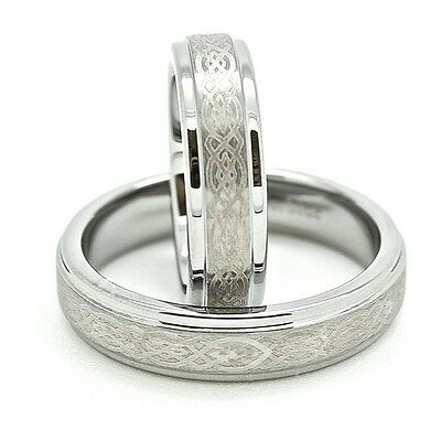 Matching 5mm Polished Tungsten Carbide with Celtic Love Knot Wedding Band Set