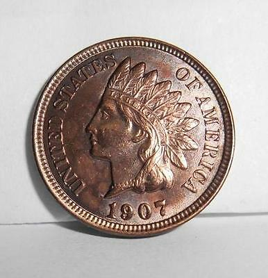 1907 Indian Head Penny-Awesome Bronze Tone -  4 Diamonds (IHP201407)**SPECIAL**