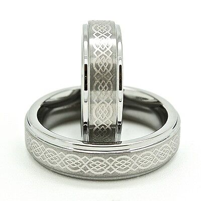 Matching 6mm Polished Tungsten Carbide with Celtic Love Knot Wedding Band Set