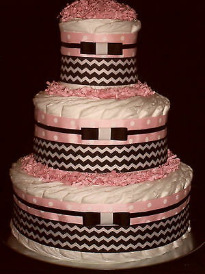 Pink and Black Chevron Diapercake