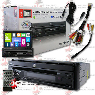 "DUAL DV714BH CAR DIN 7"" FLIP OUT TOUCHSCREEN DVD STEREO BLUETOOTH iPHONE ANDROID"