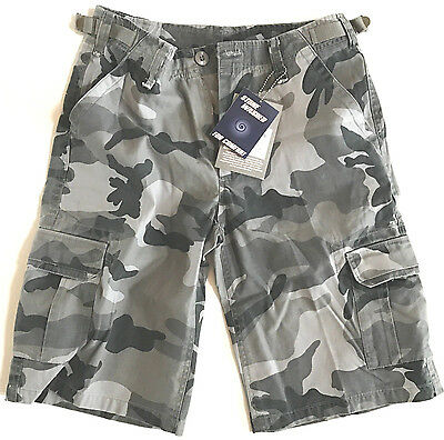 MENS URBAN CAMO CARGO SHORTS Gents 100% cotton para combats stone washed grey