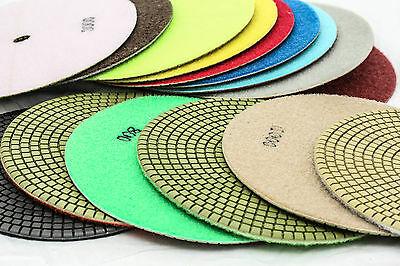 7 Inch Diamond Polishing Pads 15 Piece Set WET/DRY Granite Concrete Stone Marble