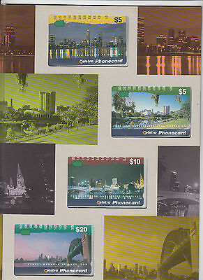 Phonecards 1996 Australia City Scapes magnetic set of 4 in limited edition pack