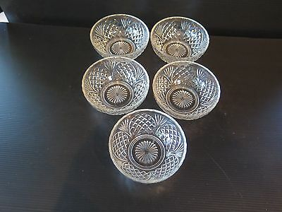 5 Vintage Look Cut Glass Sweet Bowls With Pineapple Pattern