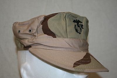 Usmc Marine Style 3-Color Desert Camo Utility Hex Cover Hat Size Large U.s. Made