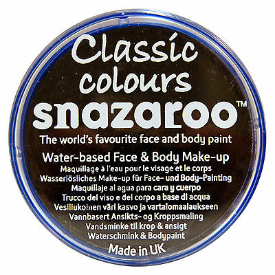 Snazaroo 18ml BLACK FACE PAINT Fancy Dress Party Stage MakeUp Halloween Scary
