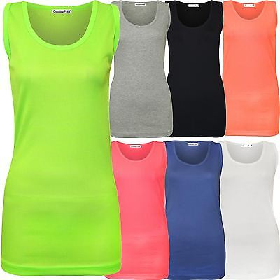 b5055b94af7 New Womens Plus Size Fluorescent Neon Colour Ribbed Fitted Vest Tops 14-28