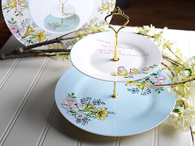 KATIE ALICE Bird Song 2 TIER Shabby Chic FINE CHINA CAKE STAND Plate