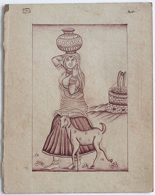 Fine Old INDIA ink drawing, lady with goat