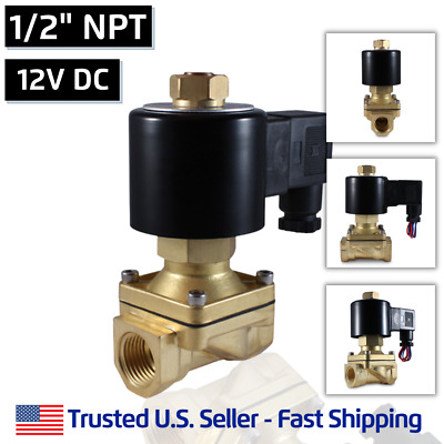 "1/2"" 12V DC NORMALLY OPEN Electric Brass Solenoid Valve 12 Volts DC N/O"