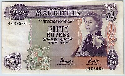 1967 Qeii Bank Of Mauritius 50 Rupees Note *scarce Piece*