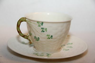 Belleek Shamrock Cup and Saucer 6th mark or  3rd Green