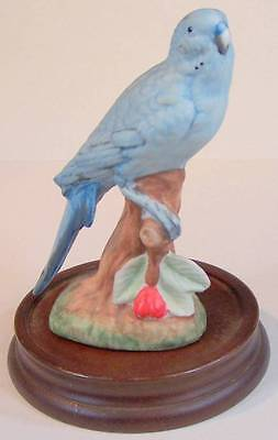 """Bisque 5 3/4"""" Parakeet Blue Budgie? On Stand No Maker's Marks Perfect"""