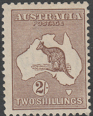 Stamp Kangaroo Australia 2/- brown 3rd watermark MH variety brown flaw at right