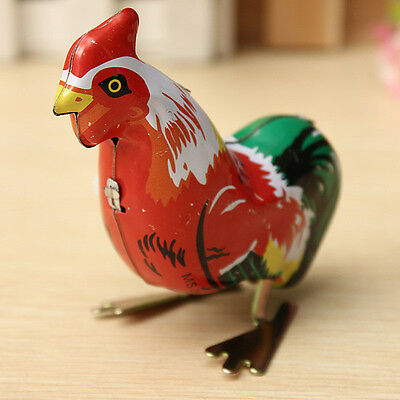 Vintage Retro Clockwork Chicken Cock Rooster Wind Up Collectable Tin Toy Gifts