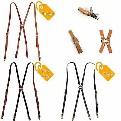 Leather Suspenders X-Back Retro Braces Belts Brass Clip-on BLACK/ BROWN/ D_BROWN