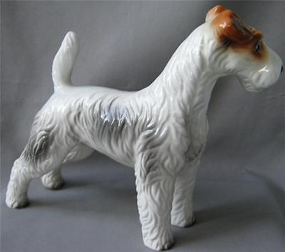 Rare Vintage Keramos Glass Porcelain WIRE HAIRED TERRIER Wien Austria Vienna
