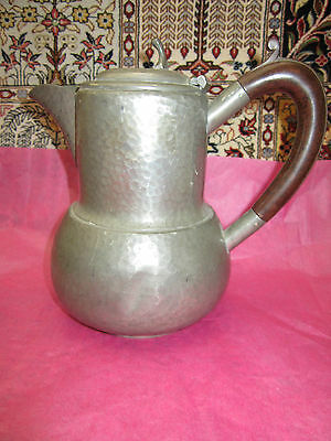 Hand Hammered Pewter Pot-Jug,wood Handle .made In England. T/ Coffee Pot.*read*