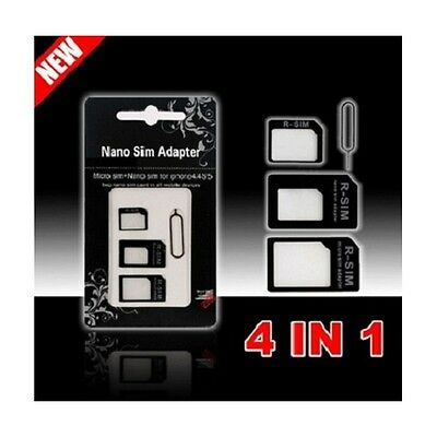 Adaptateur 4 En 1 Nano Micro Sim Iphone 3/4/4S/5/5S/5C Card Adapter Rsim In Htc