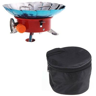 Windproof Stove Cooker Camping Cookout Cookware Gas Burner with Carry Bag Pouch