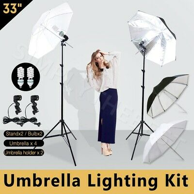 Photography Studio Umbrella Continuous Lighting Kit Light Stand 135W Bulb Lamp