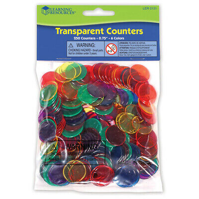 Learning Resources Transparent Counters, 2cm in 6 colours (Set of 250)