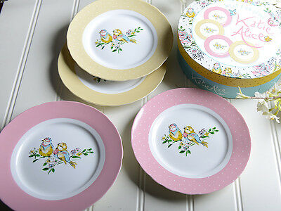 Set of 4 KATIE ALICE Bird Song SHABBY CHIC Fine China SIDE PLATES In Gift Box
