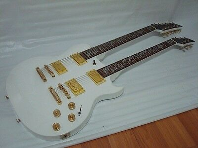 Set Neck 6/12 String Electric Double Neck Guitar with Padded Gig Bag, White