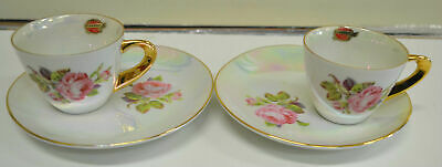 2 Rembrandt Australia Opalescent Duos, Cup/Saucer, 22ct Gold Beautiful Condition