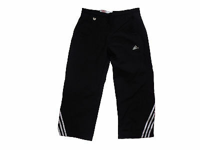 Girls ADIDAS long tracksuit TROUSERS joggers Black (A-6)