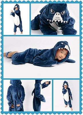 Animal Shark Onesie Party Cosplay Costume Pajama Kids Children Family Unisex