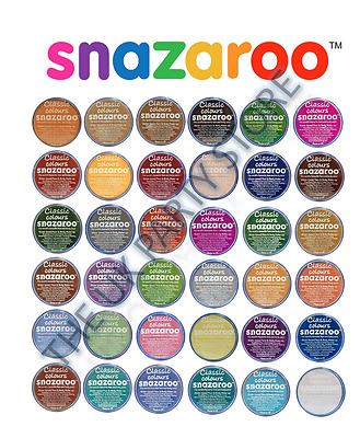 SNAZAROO FACE PAINTS 18ml Classic Stage Make up CHOOSE YOUR own 5 or 10 Colours