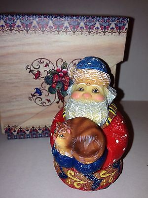 G. Debrekht Artistic Studios Kitty Caretaker Santa Russian Collectible Figurine