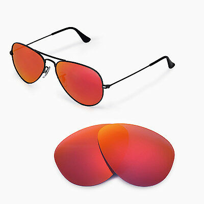 cf83b8798f Walleva Polarized Fire Red Lenses 4 Ray-Ban Aviator Large Metal RB3025 55mm