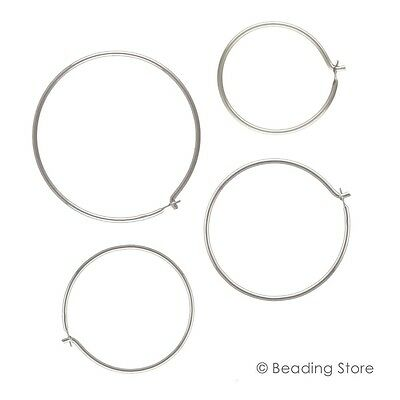 Various Sizes 925 Sterling Silver Round Endless Hoops Earwires Ear Wires Hooks