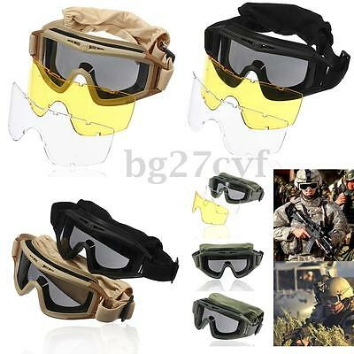 3 Lens Airsoft Tactical Clear Goggles Paintball Army Eye protection CS Glasses