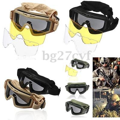 Airsoft Cs Explosion-Proof Swat Goggles Glasses Eye Protection Masks + 3 Lenses
