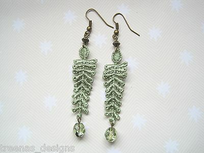 *SAGE GREEN LACE FERN LEAF CZECH FIREPOLISH GLASS* Long Drop Earrings Bronze