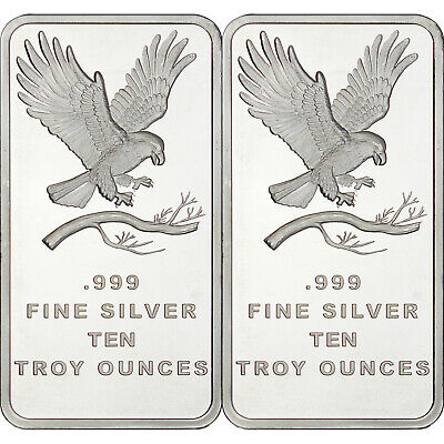 Silvertowne Trademark Eagle 10 Oz .999 Fine Silver Bar Lot Of 2
