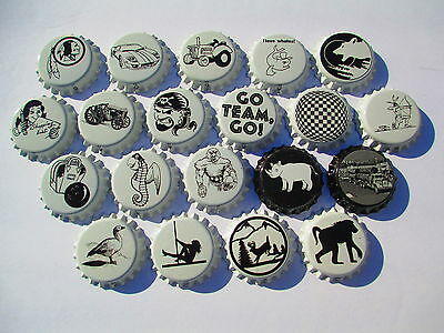 100 Uncrmped Black & White Crown Caps. many designs  Soda/Beer-home brew