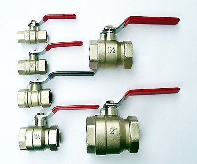 Plated Brass BALL VALVE. Heavy Duty. Female x Female BSP Threads. Water Shut Off