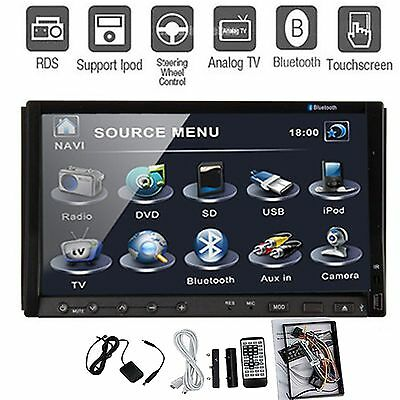Double 2 Din In-Deck Car DVD Player 7'' Touch TV Radio Stereo Bluetooth RDS Ipod